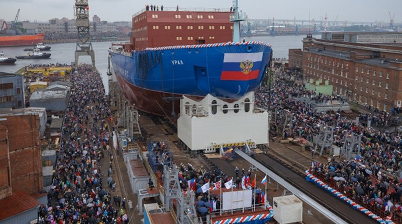 The Ural icebreaker is launched into the sea (Image: Rosatom)
