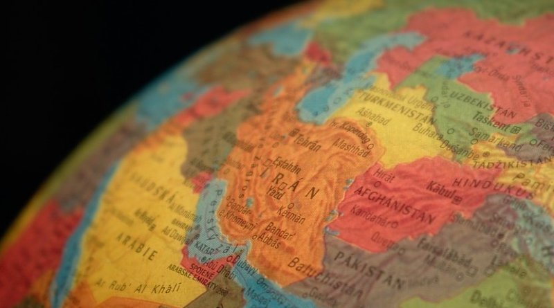 iran map middle east globe