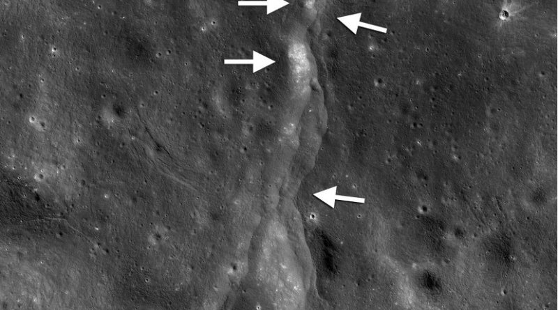 This prominent thrust fault is one of thousands discovered on the moon by NASA's Lunar Reconnaissance Orbiter (LRO). These faults resemble small stair-shaped cliffs, or scarps, when seen from the lunar surface. The scarps form when one section of the moon's crust (left-pointing arrows) is pushed up over an adjacent section (right-pointing arrows) as the moon's interior cools and shrinks. New research suggests that these faults may still be active today. Credit LROC NAC frame M190844037LR; NASA/GSFC/Arizona State University/Smithsonian