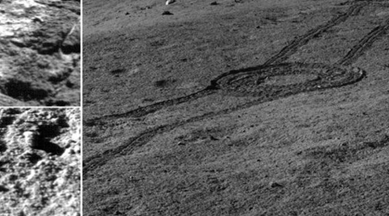 This is an image captured by Chang'E 4 showed the landscape near the landing site. Credit NAOC/CNSA
