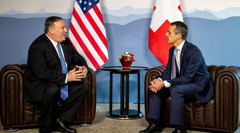 U.S. Secretary of State Michael R. Pompeo meets with Swiss Foreign Minister Ignazio Cassis at Castle Grande in Bellinzona, Switzerland, on June 2, 2019. [State Department Photo by Ron Przysucha/ Public Domain]