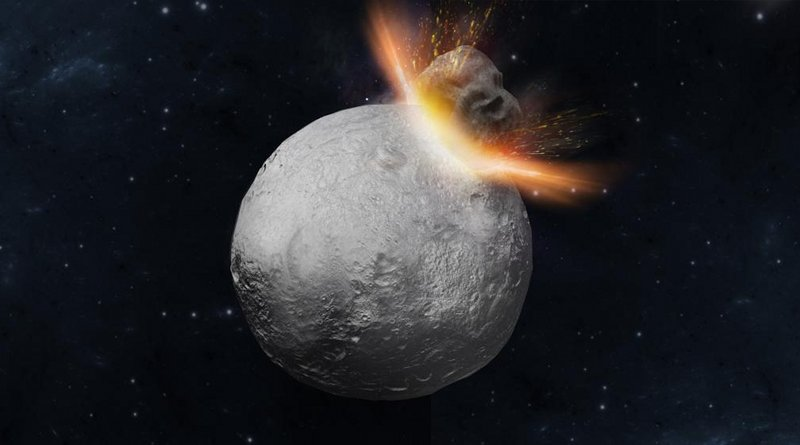 This is an artist's concept of a massive 'hit-and-run' collision hitting Asteroid Vesta. Credit Mikiko Haba
