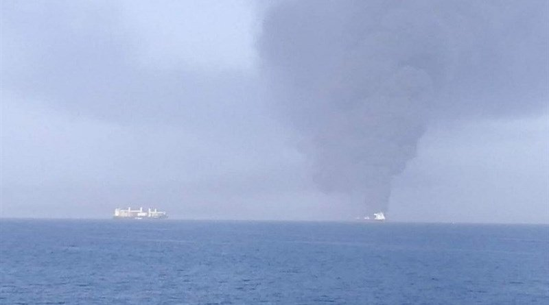 Two oil tankers were attacked in the Gulf of Oman. Photo Credit: Tasnim News Agency