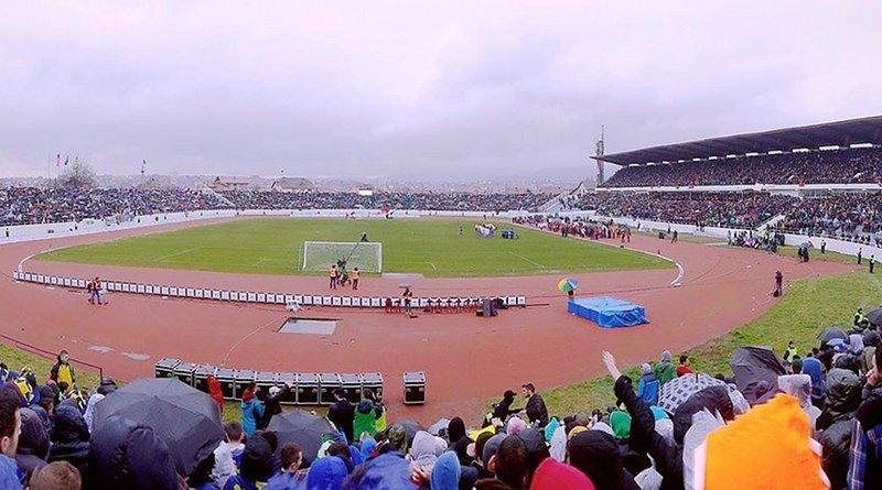 Adem-Jashari-Stadium, Mitrovica, Kosovo. Photo Credit: Illyricum, Wikimedia Commons.