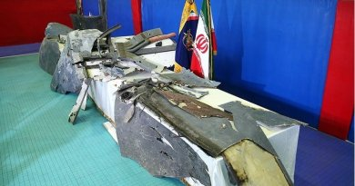 Iran puts wreckage of the downed US drone on display. Photo Credit: Tasnim News Agency