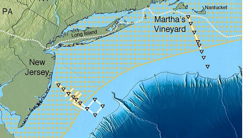 Scientists have mapped a huge aquifer off the US Northeast (hatched area). Solid yellow or white lines with triangles show ship tracks. Dotted white line near shore shows edge of the glacial ice sheet that melted about 15,000 years ago. Further out, dark blue, the continental shelf drops off into the Atlantic abyss. Credit Gustafson et al., Scientific Reports, 2019