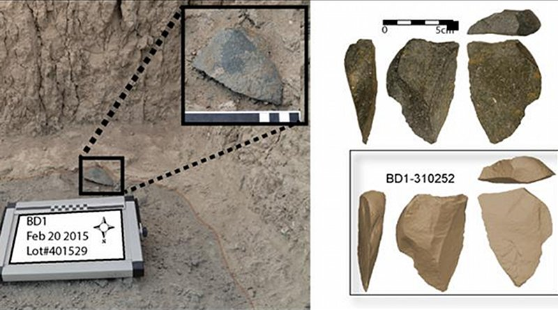 A large green artifact found in situ at the Bokol Dora site. Right: Image of the same artifact and a three dimensional model of the same artifact. Credit David R. Braun