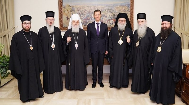 The Serbian Orthodox Church delegation with the Syrian president. Photo: SPC