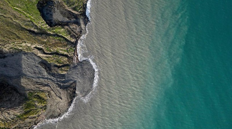 Scientists led by the University of Edinburgh used drone-mounted cameras to study erosion of permafrost coastline on Qikiqtaruk - Herschel Island, Yukon Territory, in the Canadian Arctic. Credit Jeffrey Kerby