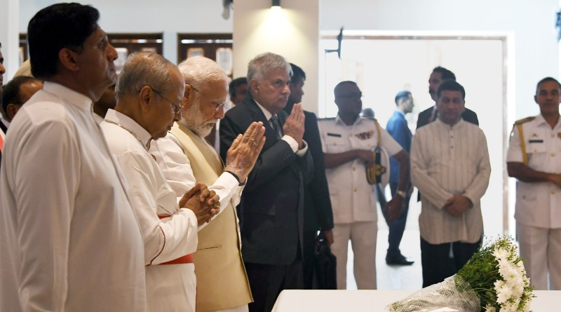 India's Prime Minister, Shri Narendra Modi at St. Anthony's Church, in Colombo, Sri Lanka on June 09, 2019. The Prime Minister of the Democratic Socialist Republic of Sri Lanka, Mr. Ranil Wickremesinghe is also seen. Photo Credit: India PM office