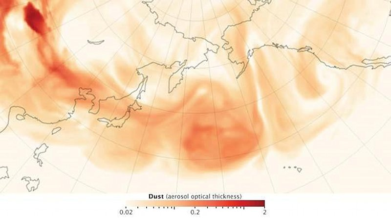 NASA image of Asian dust transport over the North Pacific. Credit Robert Simmon