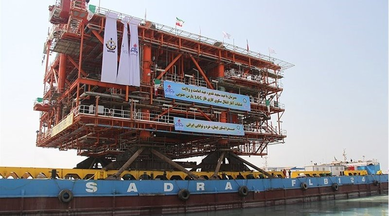 The third platform of Phase 14 of Iran's South Pars gas field. Photo Credit: Tasnim News Agency