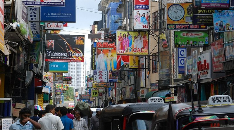 Street scene of businesses in India