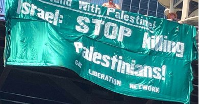 GLN banner supporting Palestine