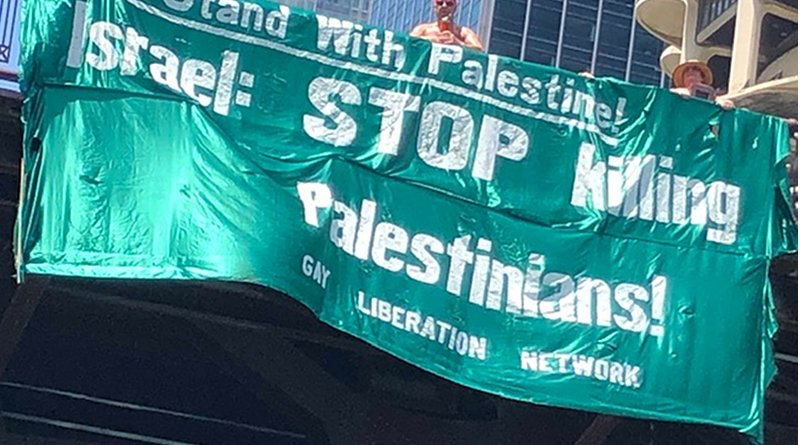 GLN banner supporting Palestine