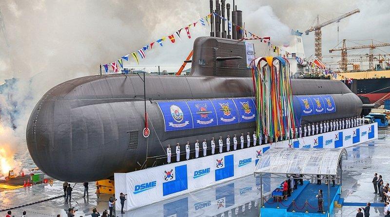 Launch of South Korea's 'Dosan An Chang-Ho' KSS III submarine. Photo Credit: Daewoo Shipbuilding & Marine Engineering (DSME)