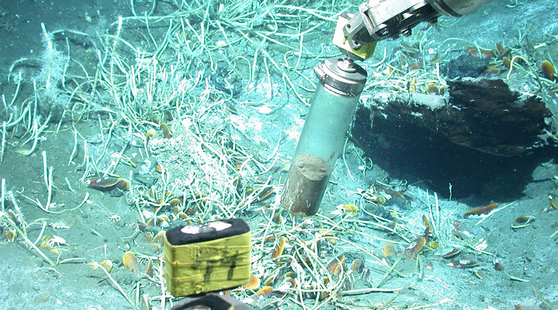 The submersible vehicle MARUM-QUEST samples for sediment at oil seeps in the Gulf of Mexico. CREDIT MARUM -- Center for Marine Environmental Sciences