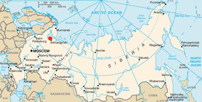 Severodvinsk (red dot) Source: United States Central Intelligence Agency