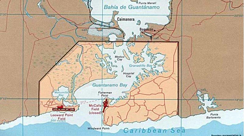 Map of Guantánamo Bay showing approximate U.S. Naval Base boundaries in Cuba. Credit: CIA Government map of Guantanamo Bay Naval Base