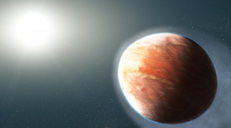 """This artist's illustration shows an alien world that is losing magnesium and iron gas from its atmosphere. The observations represent the first time that so-called """"heavy metals"""" -- elements more massive than hydrogen and helium -- have been detected escaping from a hot Jupiter, a large gaseous exoplanet orbiting very close to its star.The planet, known as WASP-121b, orbits a star brighter and hotter than the Sun. The planet is so dangerously close to its star that its upper atmosphere reaches a blazing 4,600 degrees Fahrenheit, about 10 times greater than any known planetary atmosphere. A torrent of ultraviolet light from the host star is heating the planet's upper atmosphere, which is causing the magnesium and iron gas to escape into space. Observations by Hubble's Space Telescope Imaging Spectrograph have detected the spectral signatures of magnesium and iron far away from the planet.The planet's """"hugging"""" distance from the star means that it is on the verge of being ripped apart by the star's gravitational tidal forces. The powerful gravitational forces have altered the planet's shape so that it appears more football shaped.The WASP-121 system is about 900 light-years from Earth. Credit NASA, ESA, and J. Olmsted (STScI)"""