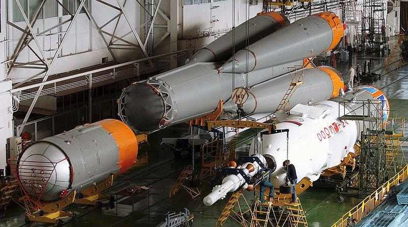 Russian Soyuz rocket assembly. Photo Credit: NASA, Wikipedia Commons