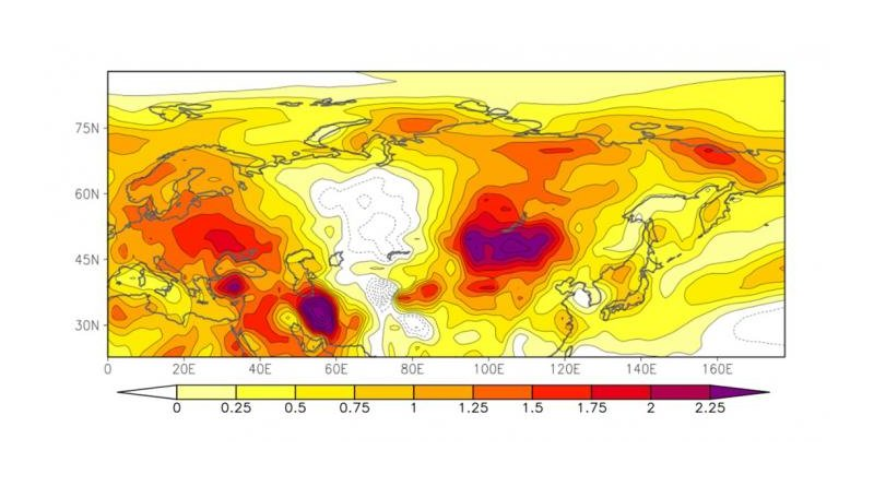 Differences in surface air temperatures (in June-August) between the 1980s and 2000s. The summer temperatures steeply rose in Europe and Northeast Asia, while the margin of the temperature rise in Western Russia is minor, showing a heterogeneous pattern of temperature changes from the east to west. Credit Sato T. and Nakamura T., Scientific Reports, July 26, 2019