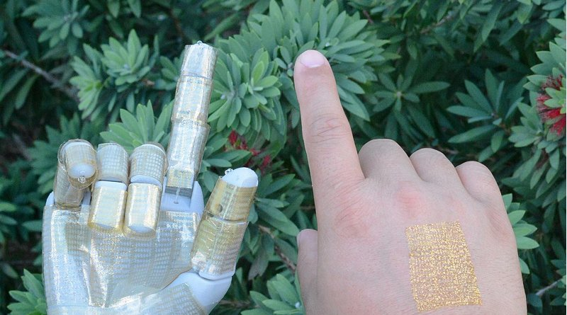 Researchers reported the discovery of a multifunctional ultra-thin wearable electronic device that is imperceptible to the wearer. It also can be used as a robotic skin. Credit University of Houston