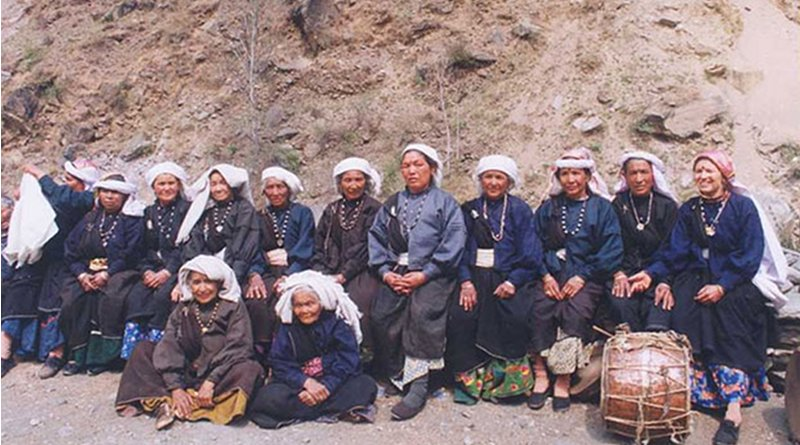 Participants of the first all-woman Chipko action at Reni village in 1974, reassembled thirty years later. Photo Credit: Ceti, Wikipedia Commons