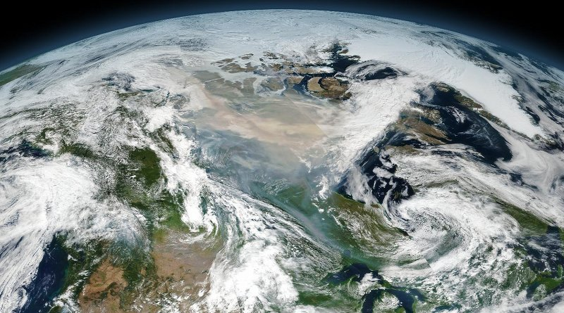 An enormous cloud of smoke from intense wildfires drifted over northern Canada on August 15, 2017. The image is a mosaic composed from several satellite overpasses because the affected area was so large. Credit NASA Earth Observatory