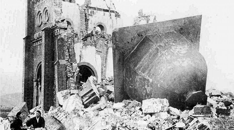 The ruins of Immaculate Conception Cathedral in Nagasaki, Jan. 7, 1946. Credit: Aihara Hidetsugu (public domain).