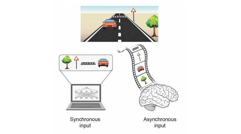 Processing an event with multiple objects. A synchronous input where all objects are presented simultaneously to a computer (left), versus an asynchronous input where objects are presented with temporal order to the brain (right). Credit Prof. Ido Kanter