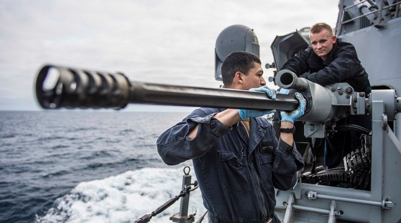 Fire controlman (left) and gunner's mate maintain Mark 38 25mm machine gun aboard USS Porter in Atlantic Ocean, March 5, 2019 (U.S. Navy/James R. Turner)