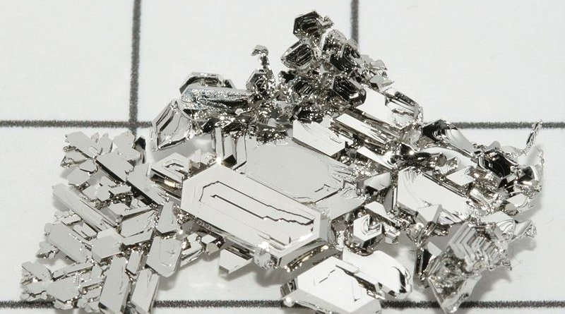 Crystals of pure platinum grown by gas phase transport. Photo Credit: Periodictableru, Wikipedia Commons