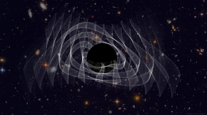 An illustration of a supersized black hole resulting from the merger of two smaller black holes. The collision has caused the black hole to ring and radiate gravitational waves (white). Credit Maximiliano Isi/MIT