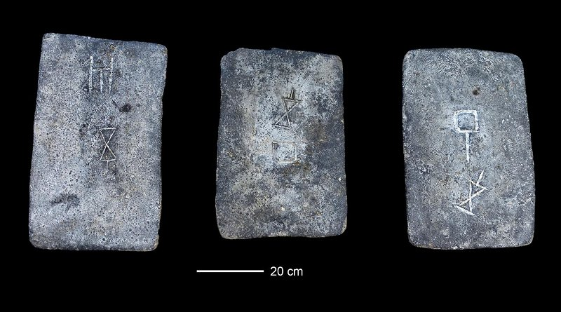 Some of the studied tin ingots from the sea off the coast of Israel (approx. 1300-1200 BCE). Credit Photo: Ehud Galili