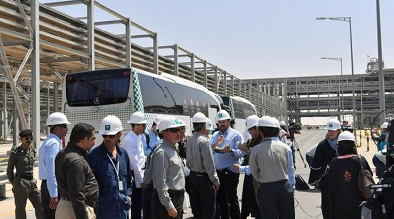 Journalists from local and international media organizations on Friday inspected Aramco oil facilities in Khurais and Abqaiq that were hit by attacks on Sept. 14. (SPA)