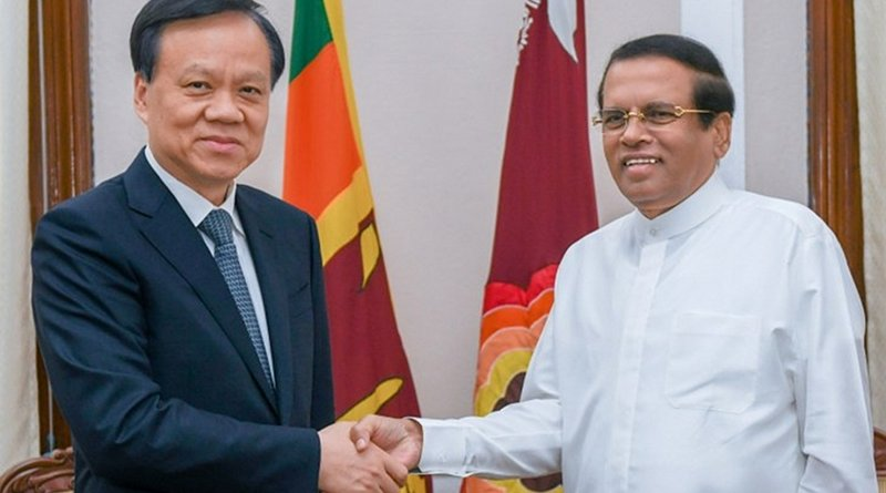 Member of the Political Bureau of the Communist Party of China (CPC) Central Committee, Chen Min-Er and Sri Lanka's President Maithripala Sirisena. Photo Credit: Sri Lanka government
