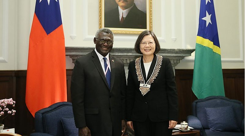 Solomon Islands Prime Minister Manasseh Sogavare meets with Taiwanese President Tsai Ing-wen. Photo Credit: Office of the President, Republic of China (Taiwan)