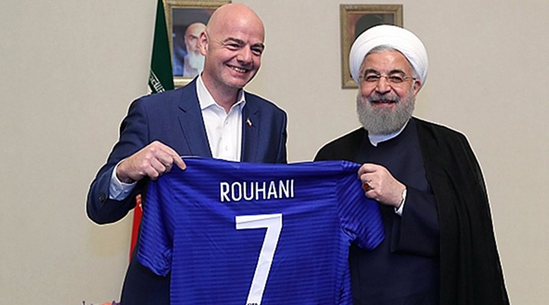 Iranian President Hassan Rohani (right) and FIFA President Gianni Infantino. Photo Credit: Iranian Presidency
