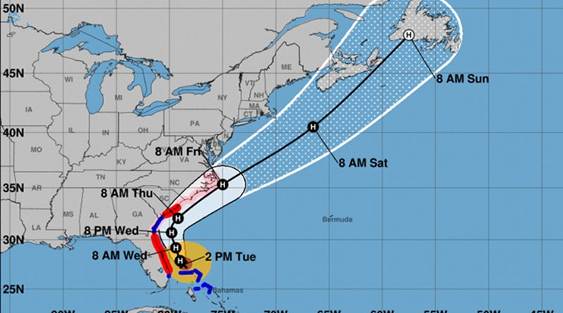 5-day track and intensity forecast cone for Hurricane Dorian. Credit: NOAA, Wikipedia Commons
