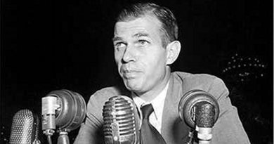 Alger Hiss (1948) denied Chambers's allegations and was convicted of perjury. Credit: Library of Congress. New York World-Telegram & Sun Collection, Wikipedia Commons