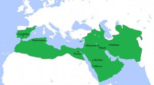 The Umayyad Caliphate at its greatest extent in AD 750. Credit: Wikipedia Commons