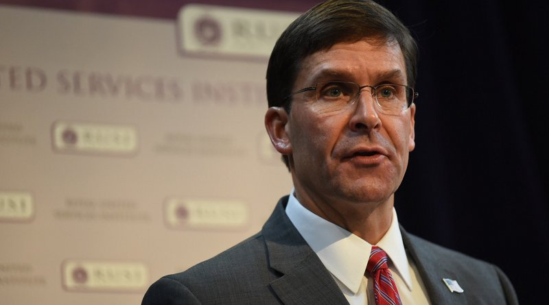 Defense Secretary Dr. Mark T. Esper takes part in a discussion at the Royal United Services Institute in London, Sept. 6, 2019.