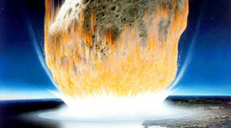 This is an artist's interpretation of the asteroid impact. The asteroid in the artwork appears much larger than the six-mile rock that scientists hypothesize actually struck the Earth 66 million years ago. Nevertheless, the image nicely illuminates the heat generated as the asteroid rapidly compresses upon impact and the vacuum in its wake. Credit NASA/Don Davis