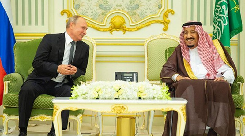 Saudi Arabia's King Salman with Russian president Vladimir Putin at Al-Yamamah Palace in Riyadh. (SPA)