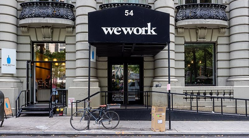 Branded entrance to a WeWork office in Manhattan. Photo Credit: Ajay Suresh, Wikipedia Commons