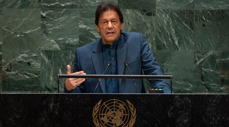 Pakistan's Prime Minister Imran Khan speaking at United Nations. Photo Credit: Pakistan Prime Minister office