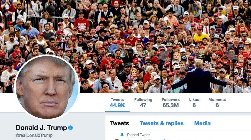 US President Donald Trump's Twitter account. Credit: https://twitter.com/realdonaldtrump