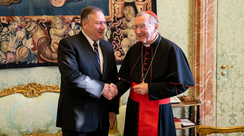 U.S. Secretary of State Michael R. Pompeo shakes hands with Vatican Secretary of State Cardinal Pietro Parolin in Vatican City, on October 2, 2019. [State Department photo by Ron Przysucha/ Public Domain]