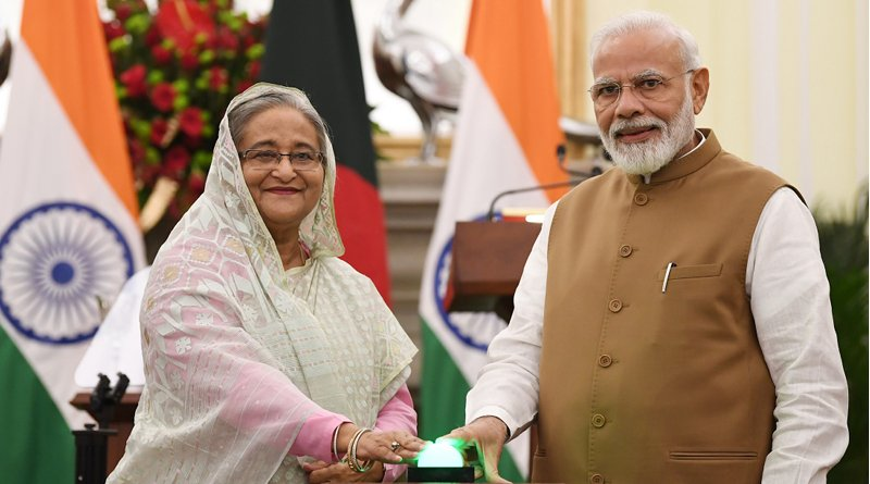 India's Prime Minister, Shri Narendra Modi and the Prime Minister of Bangladesh, Ms. Sheikh Hasina, at the Joint Press Statements, at Hyderabad House, in New Delhi. Photo Credit: India PM Office